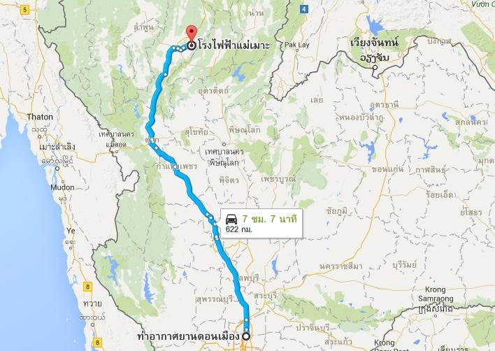 Map to Lampang