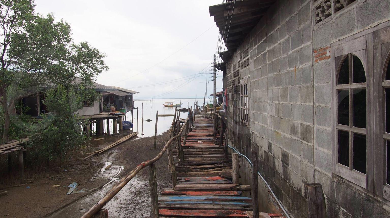 สะพานไม้ทอดไปสู่ชายทะเล